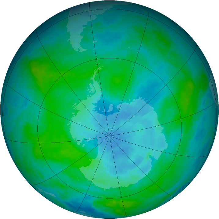 Antarctic ozone map for 01 March 1989