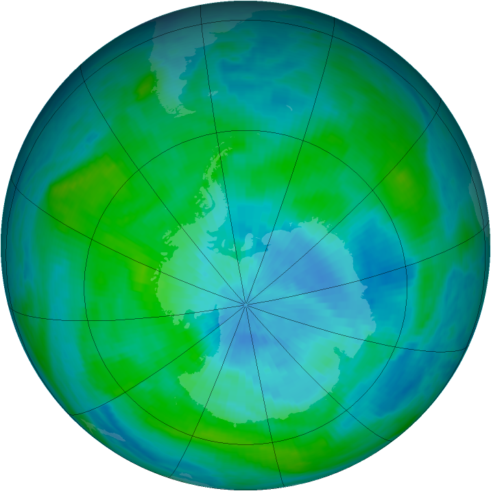 Antarctic ozone map for 03 March 1989