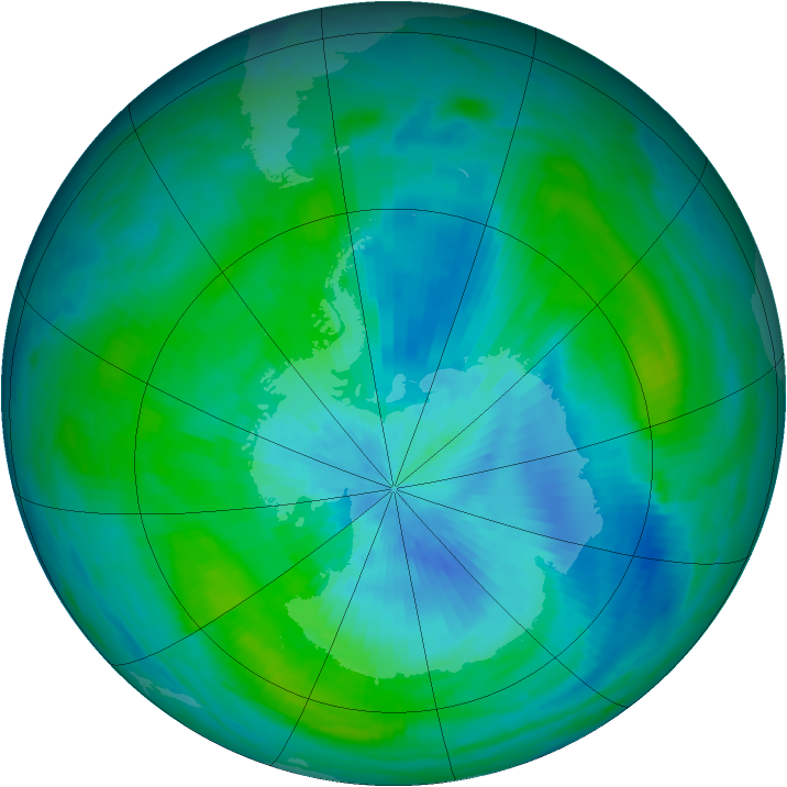 Antarctic ozone map for 06 March 1989
