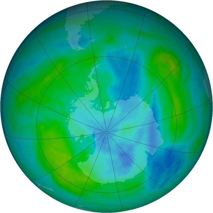 Antarctic ozone map for 07 March 1989