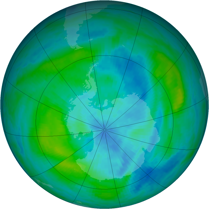 Antarctic ozone map for 08 March 1989