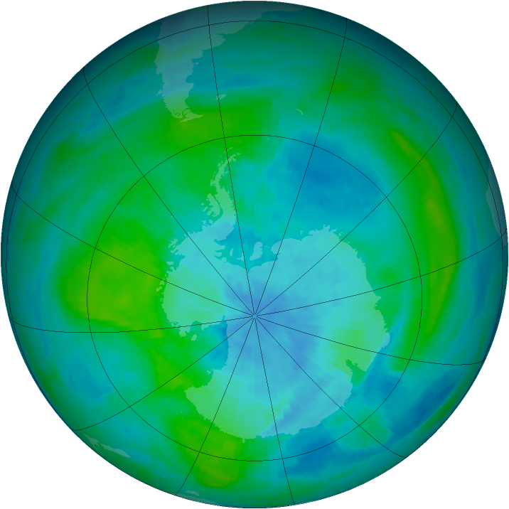 Antarctic ozone map for 09 March 1989