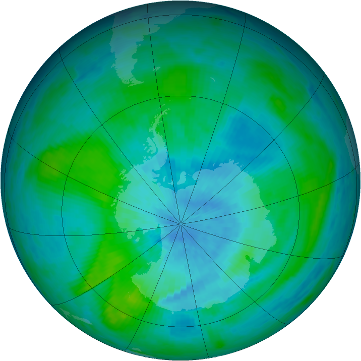 Antarctic ozone map for 10 March 1989