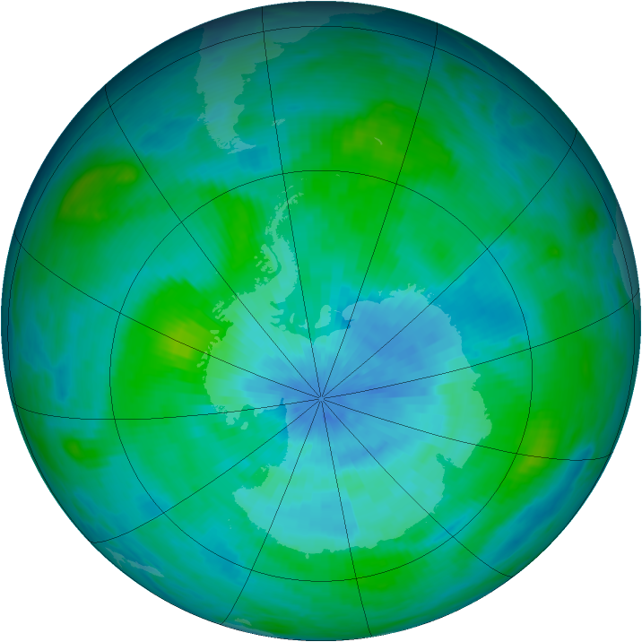 Antarctic ozone map for 12 March 1989