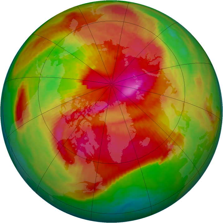 Arctic ozone map for 13 March 1989