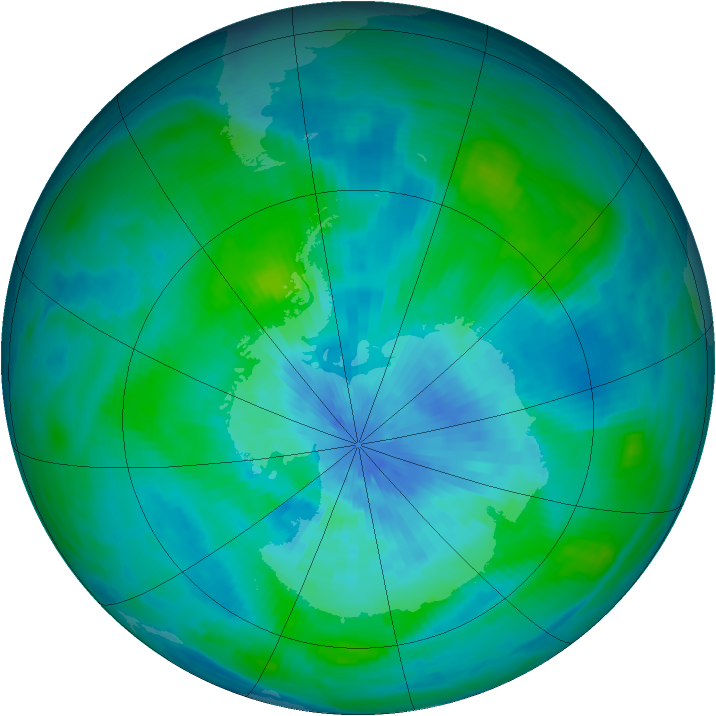 Antarctic ozone map for 14 March 1989