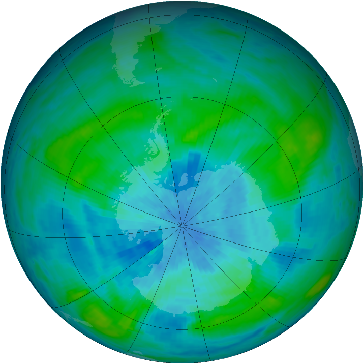 Antarctic ozone map for 16 March 1989