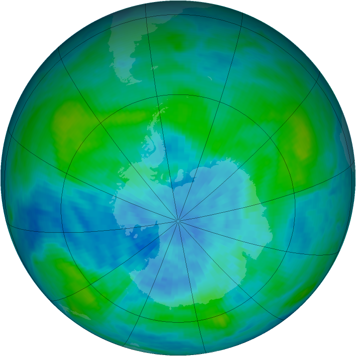 Antarctic ozone map for 17 March 1989