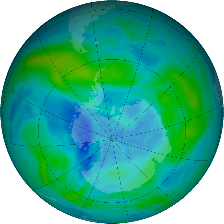 Antarctic ozone map for 19 March 1989