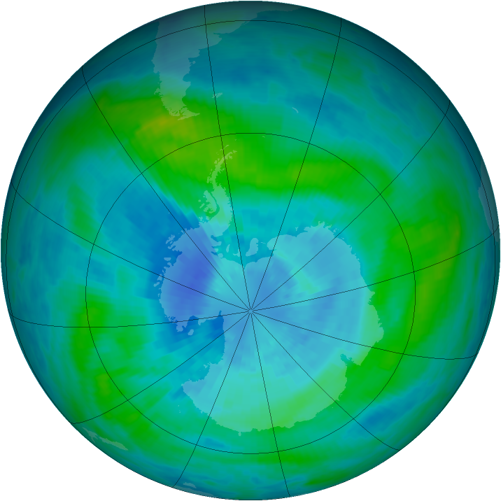 Antarctic ozone map for 20 March 1989