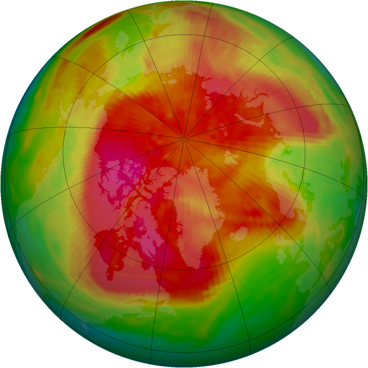 Arctic ozone map for 21 March 1989