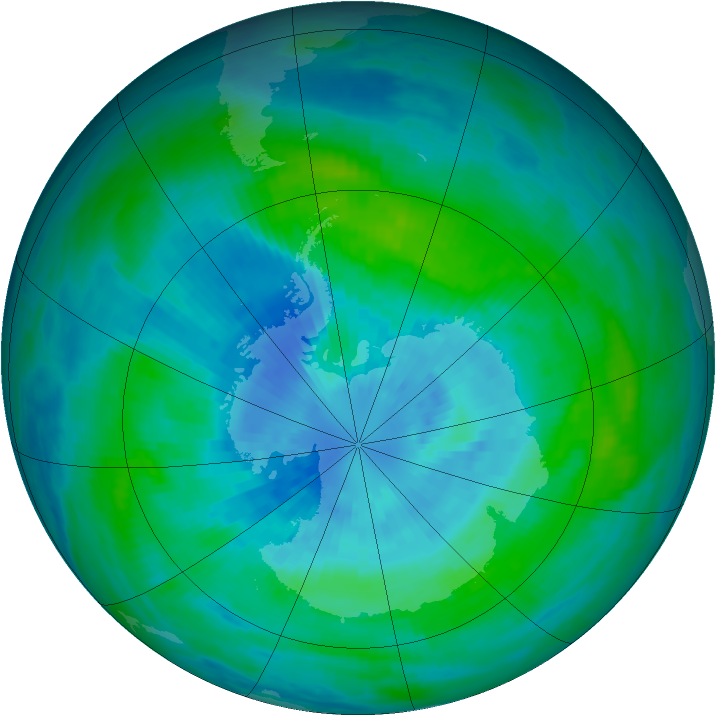 Antarctic ozone map for 21 March 1989