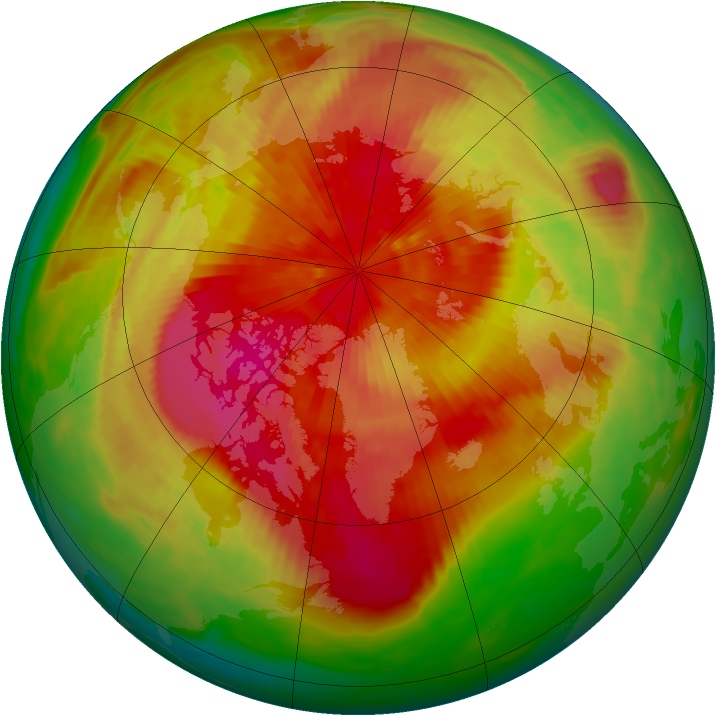 Arctic ozone map for 24 March 1989