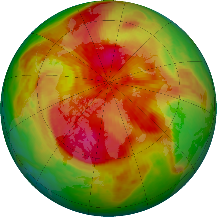 Arctic ozone map for 28 March 1989
