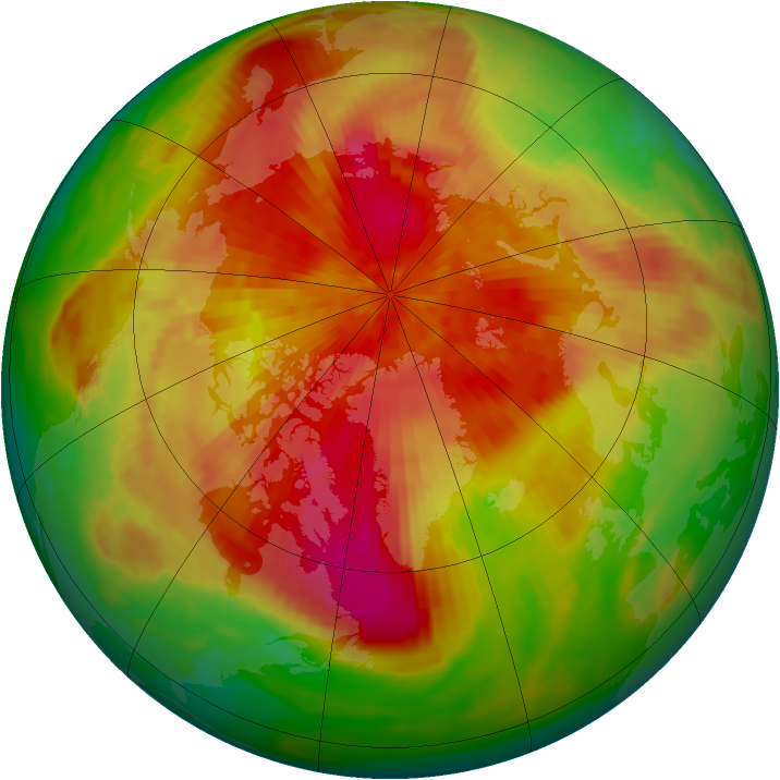 Arctic ozone map for 30 March 1989