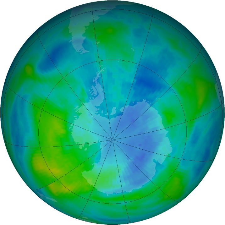 Antarctic ozone map for 30 March 1989