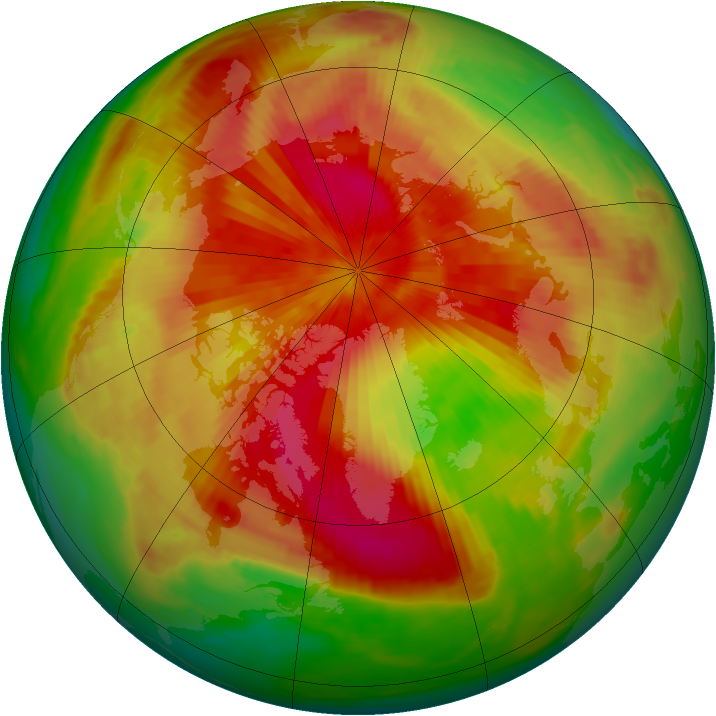Arctic ozone map for 31 March 1989