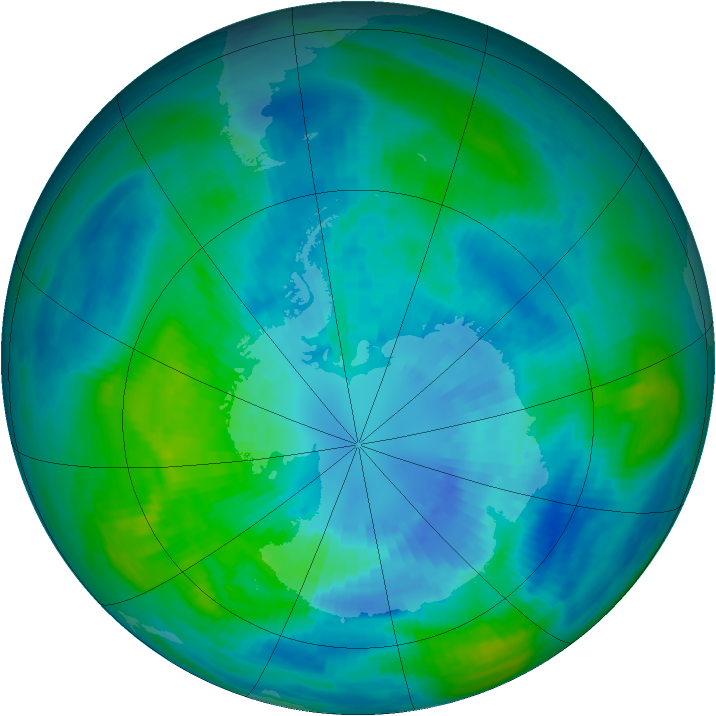 Antarctic ozone map for 01 April 1989