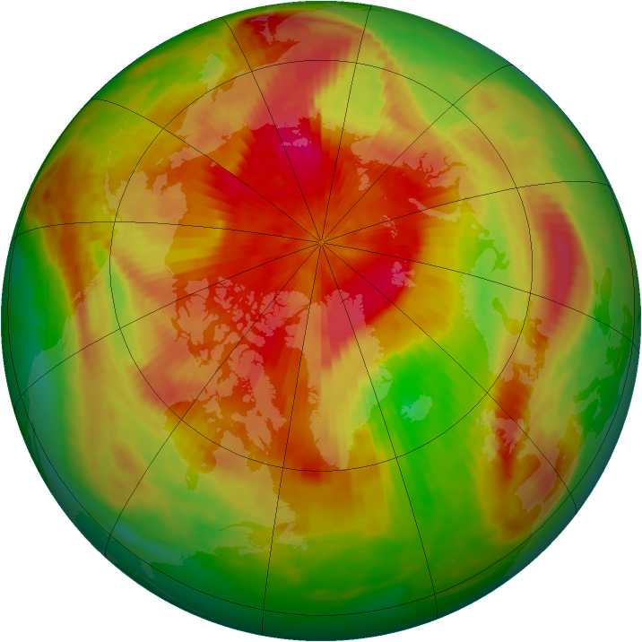 Arctic ozone map for 04 April 1989