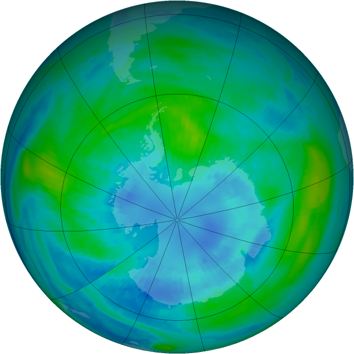 Antarctic ozone map for 05 April 1989
