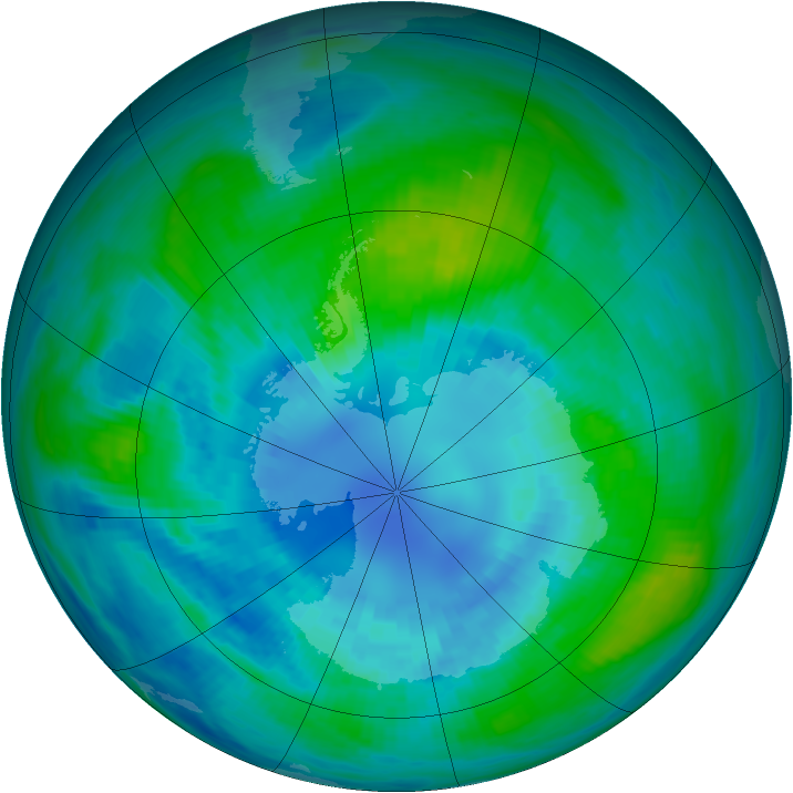 Antarctic ozone map for 07 April 1989