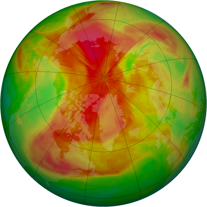 Arctic ozone map for 10 April 1989