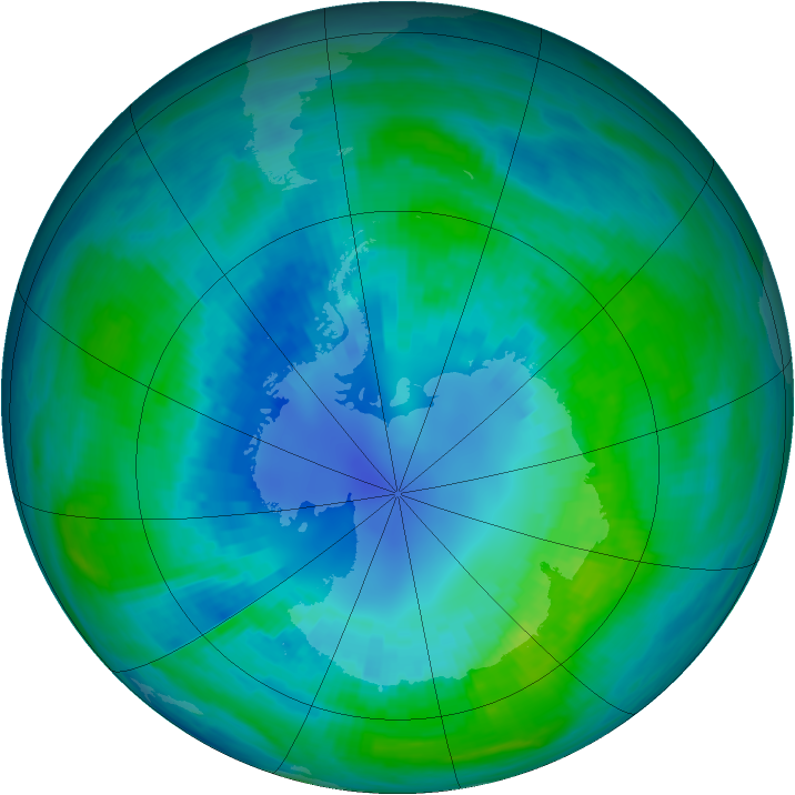 Antarctic ozone map for 13 April 1989