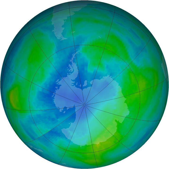 Antarctic ozone map for 14 April 1989