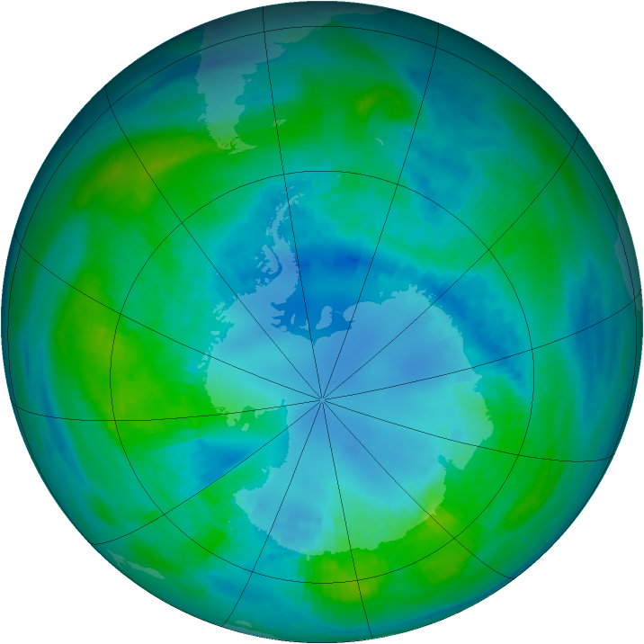 Antarctic ozone map for 19 April 1989