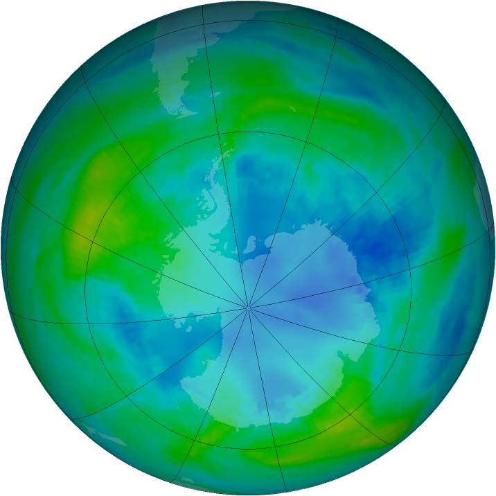 Antarctic ozone map for 21 April 1989