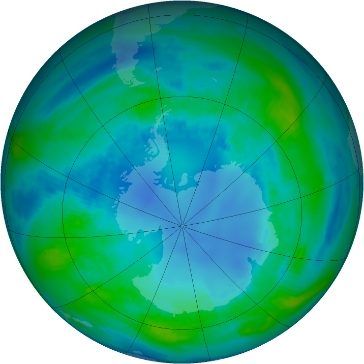 Antarctic ozone map for 25 April 1989