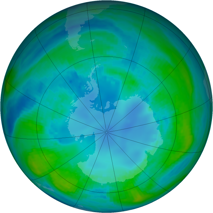 Antarctic ozone map for 26 April 1989