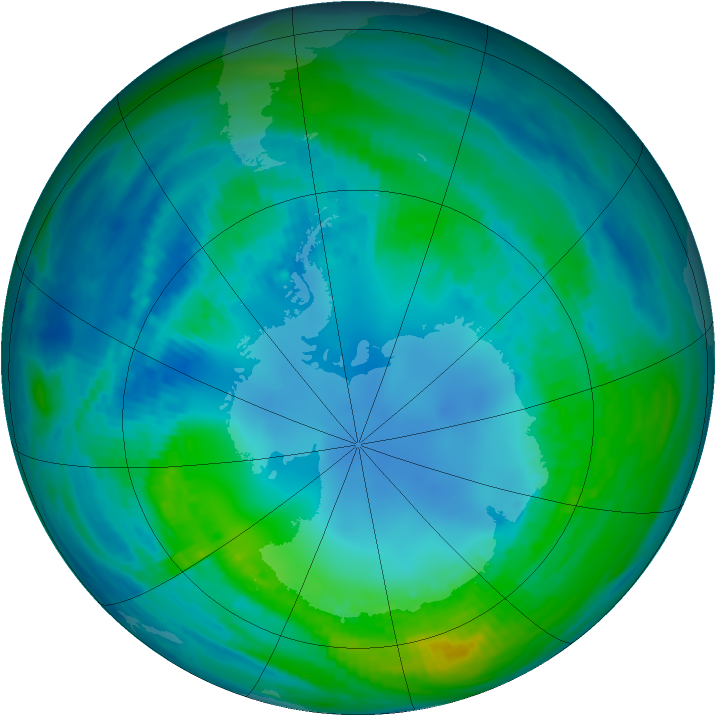 Antarctic ozone map for 30 April 1989