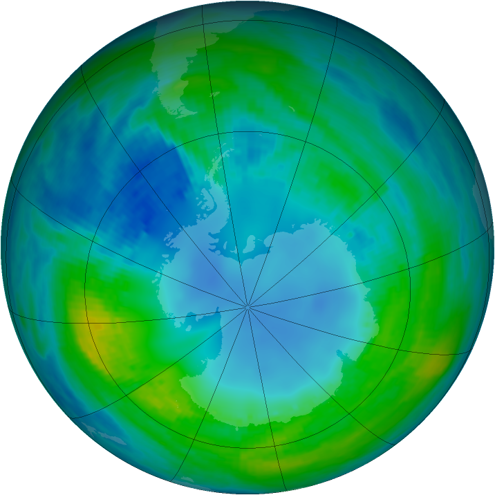 Antarctic ozone map for 01 May 1989