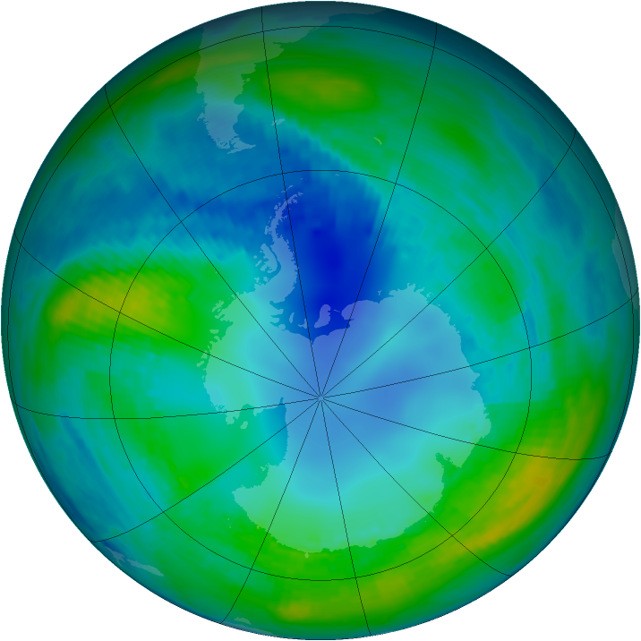 Antarctic ozone map for 03 May 1989
