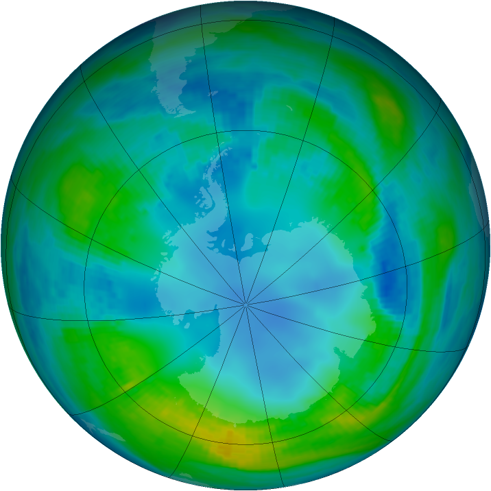 Antarctic ozone map for 06 May 1989