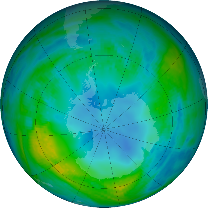 Antarctic ozone map for 10 May 1989