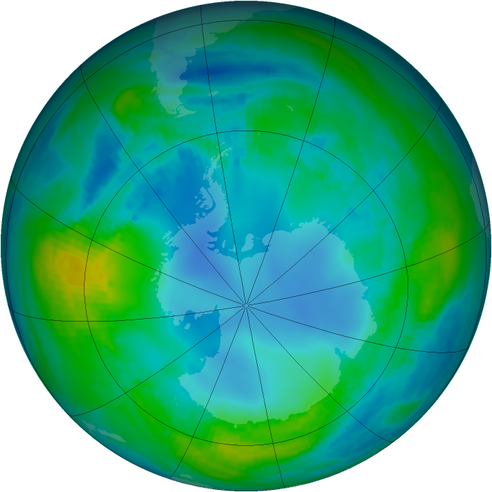 Antarctic ozone map for 12 May 1989