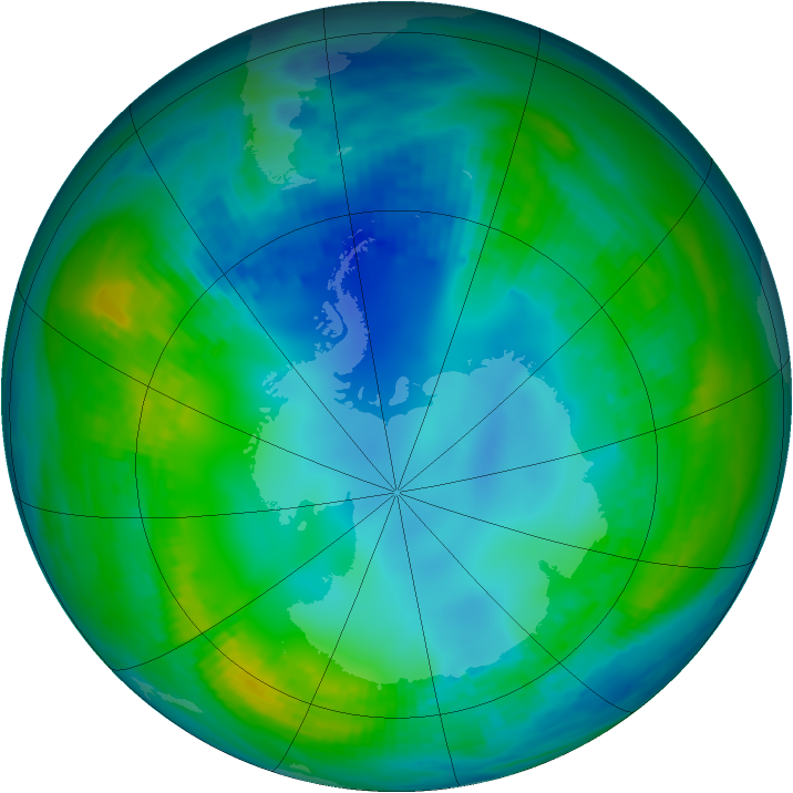 Antarctic ozone map for 14 May 1989