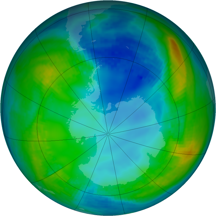 Antarctic ozone map for 16 May 1989