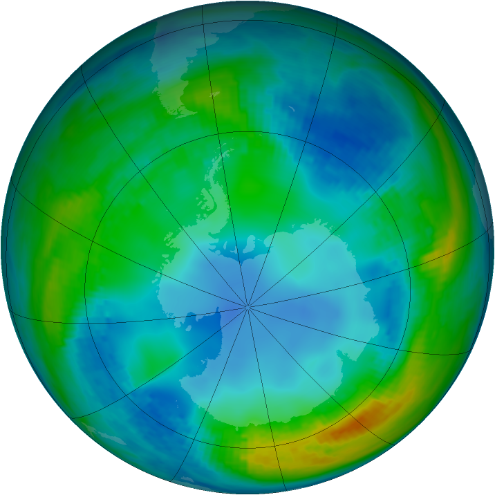 Antarctic ozone map for 18 May 1989