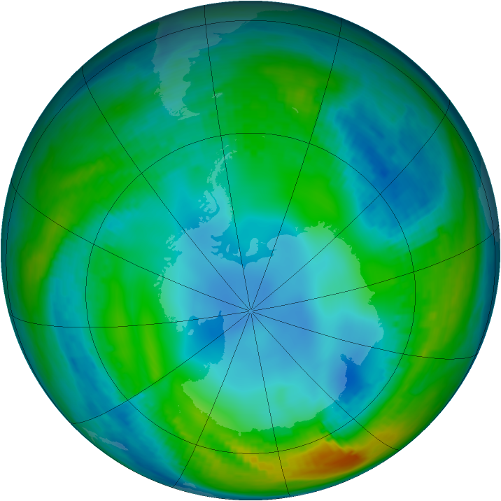 Antarctic ozone map for 19 May 1989