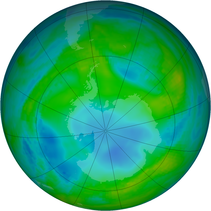 Antarctic ozone map for 23 May 1989