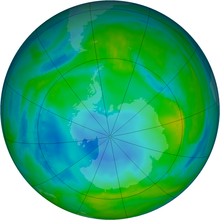 Antarctic ozone map for 24 May 1989