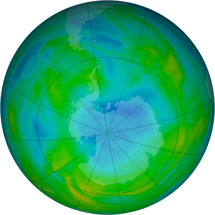 Antarctic ozone map for 27 May 1989