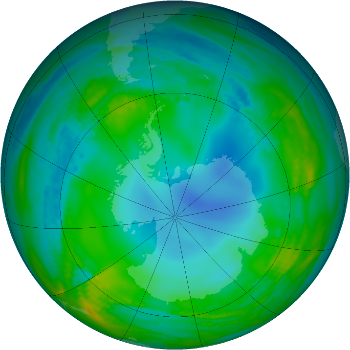 Antarctic ozone map for 28 May 1989