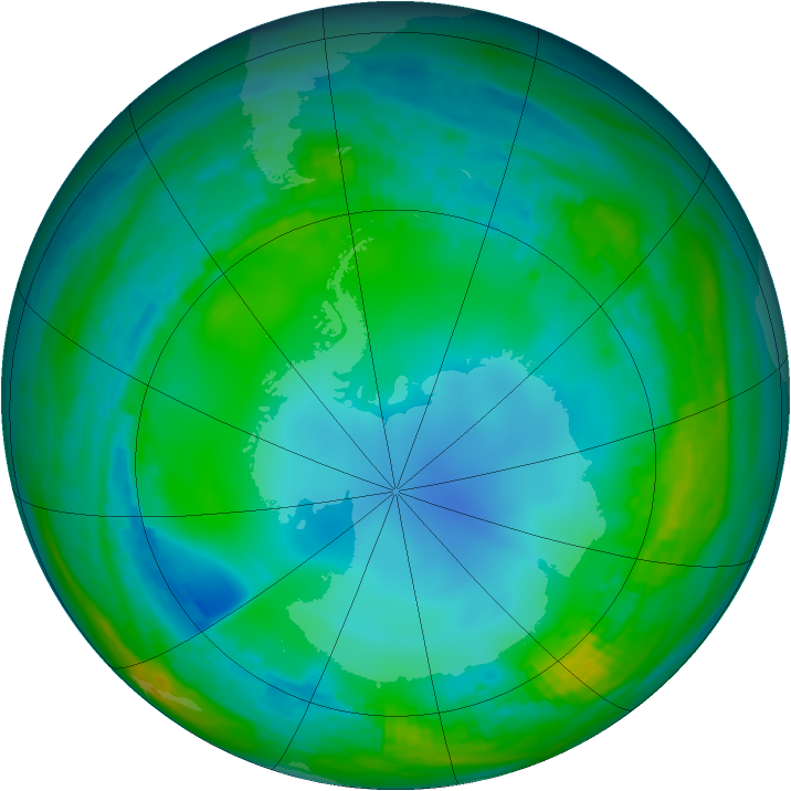 Antarctic ozone map for 29 May 1989