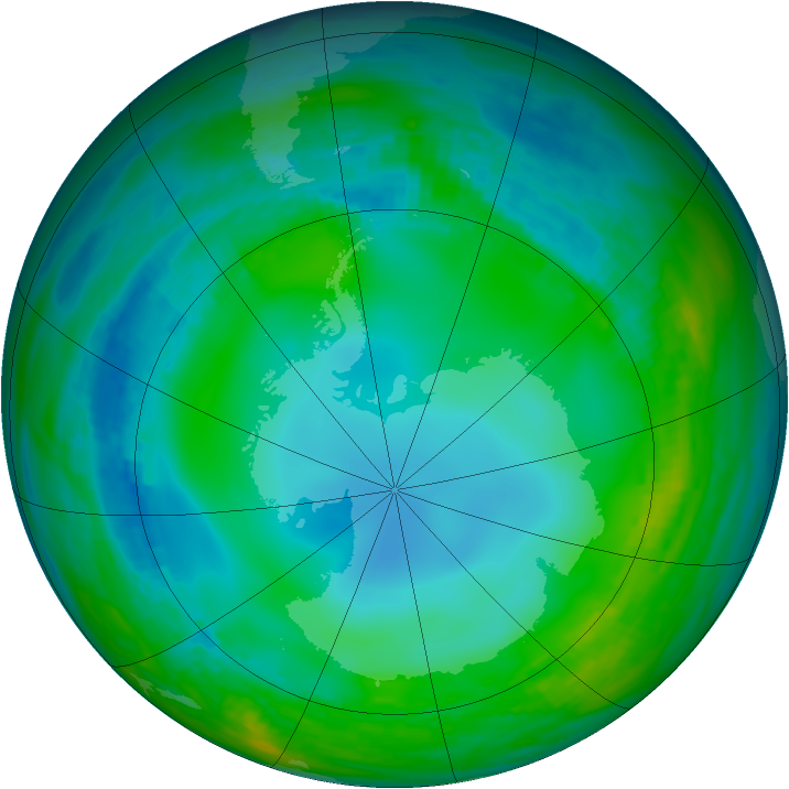 Antarctic ozone map for 31 May 1989