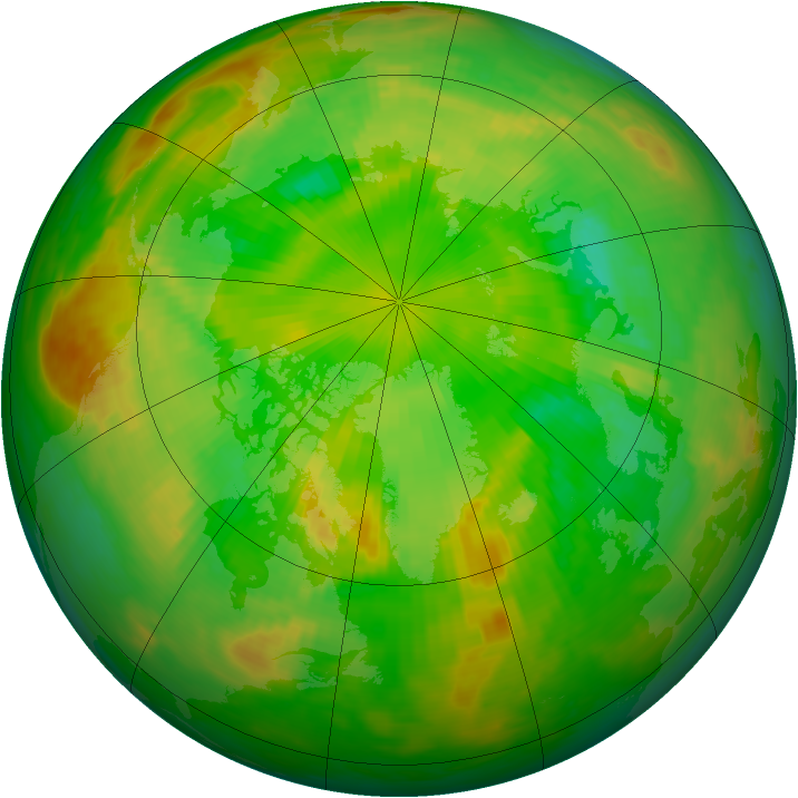 Arctic ozone map for 18 June 1989