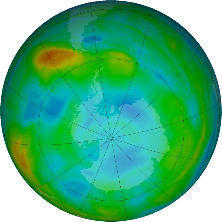 Antarctic ozone map for 22 June 1989
